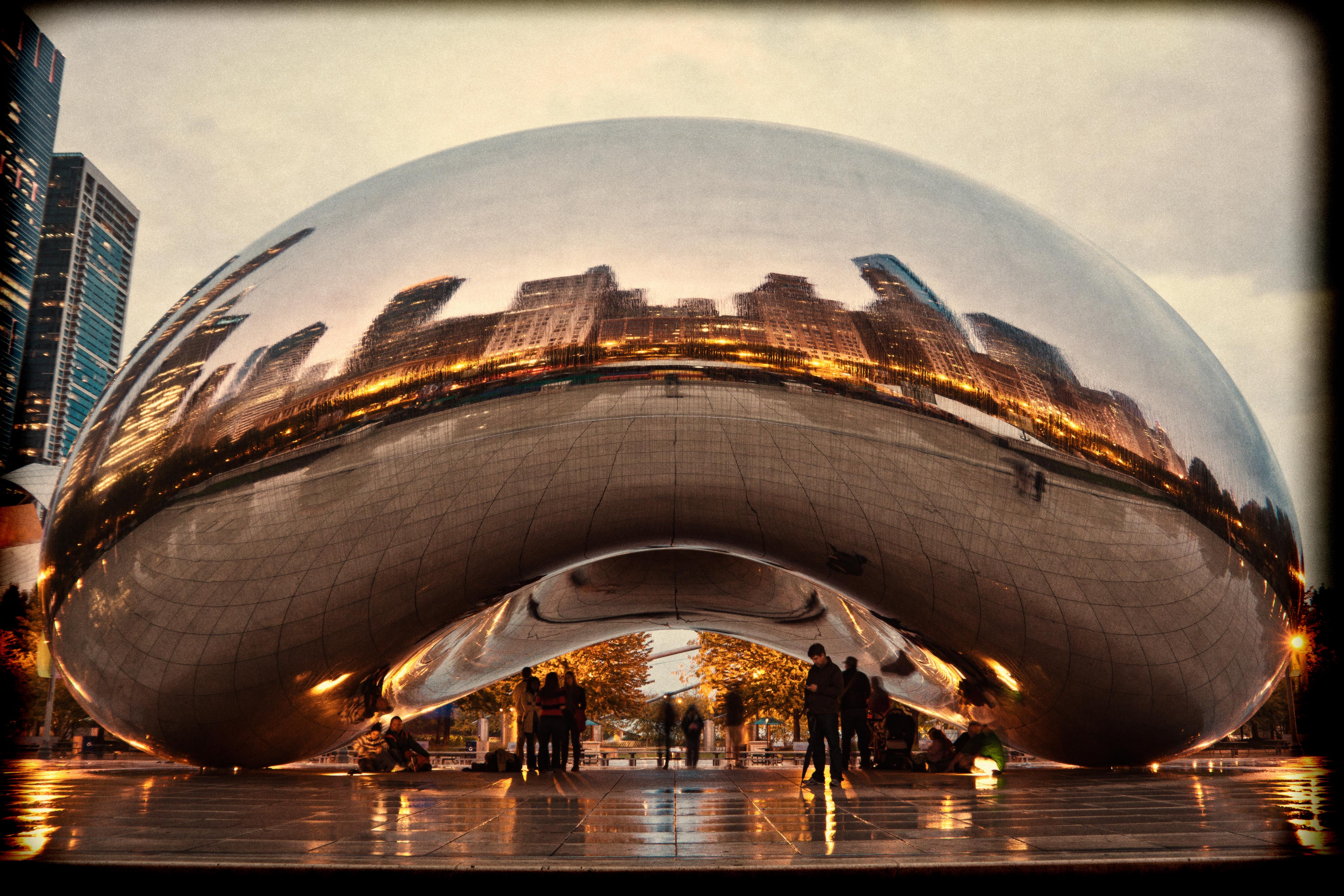 Cloud Gate On A Rainy Evening